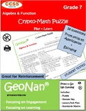7th Grade Algebra & Function Puzzle