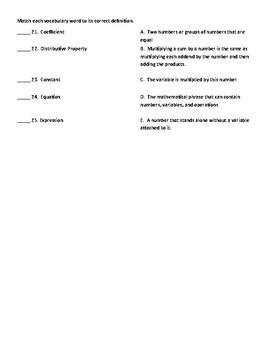 7th Grade Algebra Test