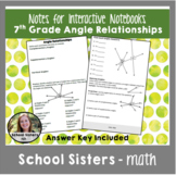 7th Grade Angle Relationships Notes for Interactive Notebooks