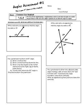 7th Grade Angles Assessment v1