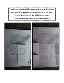 7th Grade Area of Circles Lesson: FOLDABLE & Homework