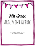 7th Grade Argument Writing Rubric