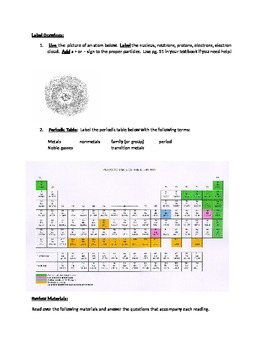 7th Grade Atoms and Periodic Table Study Guide