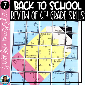 7th Grade Math Back to School Jumbo Puzzle Review