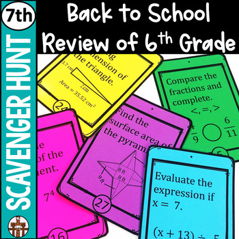 7th Grade Back to School Math Scavenger Hunt