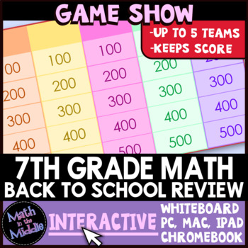 7th Grade Math Back to School Review Game Show - Interactive Math Review Game