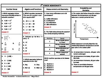 7th Grade Board Math #1 - Standardized Test Practice