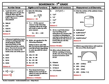 7th Grade Board Math #10 - Standardized Test Practice