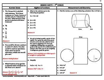 7th Grade Board Math #12 - Standardized Test Practice