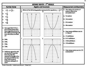 7th-Grade Board Math #13 - Standardized Test Practice