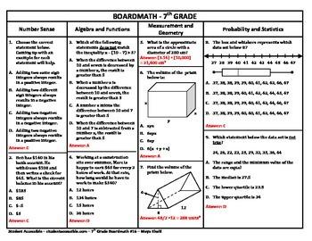 7th Grade Board Math #16 - Standardized Test Practice