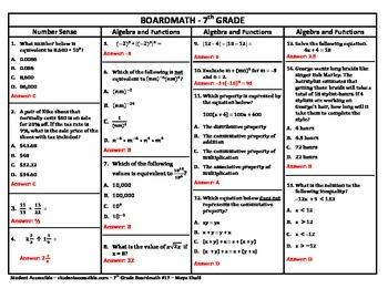 7th Grade Board Math #17 - Standardized Test Practice