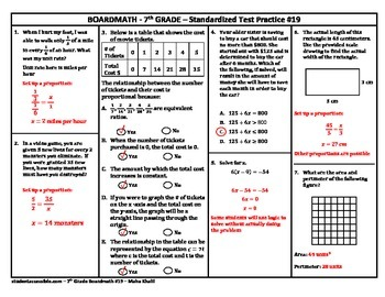 7th Grade Board Math #19 - Standardized Test Practice