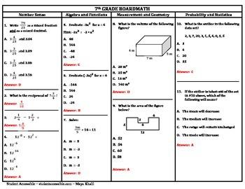 7th Grade Board Math #3 - Standardized Test Practice
