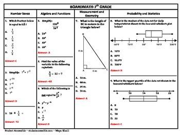7th Grade Board Math #4 - Standardized Test Practice