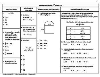 7th Grade Board Math #5 - Standardized Test Practice
