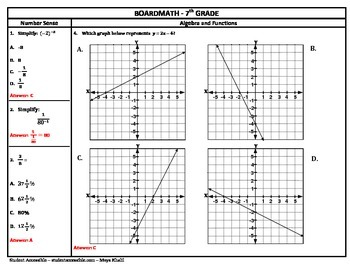 7th Grade Board Math #6 - Standardized Test Practice