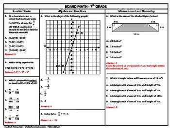 7th Grade Board Math #7 - Standardized Test Practice