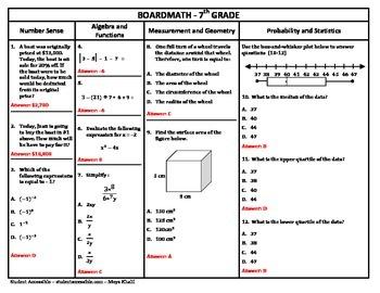 7th Grade Board Math #9 - Standardized Test Practice