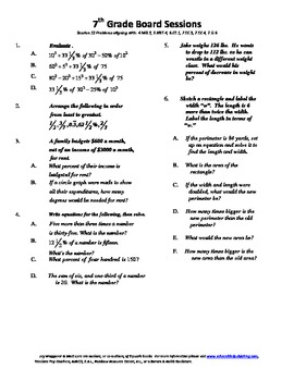 7th Grade Board Session 12,Common Core,Review,Math Counts,