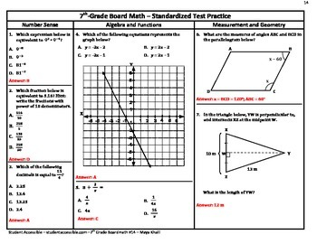 7th-Grade Borad Math #14 - Standardized Test Practice