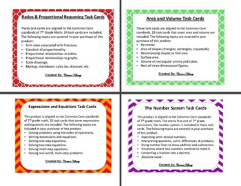 7th Grade Bundle - Units 1, 2, 3, 4, 5, & 6 - Task Cards + Quizzes!