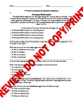 7th Grade CCSS Connotation & Denotation Assessment