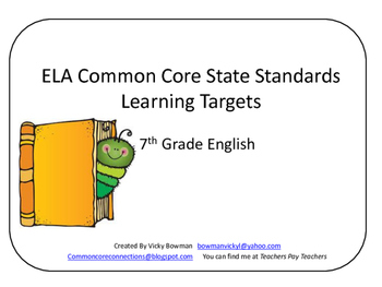 7th Grade CCSS ELA Learning Target Cards