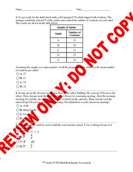 7th Grade CCSS Math Benchmark Assessment