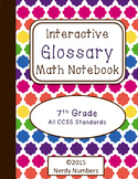 7th Grade CCSS Math Vocabulary Frayer Model Interactive Notebook Glossary