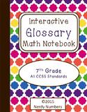 7th Grade CCSS Math Vocabulary Frayer Model Interactive Notebook Glossary