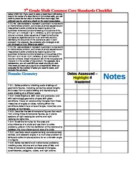 7th Grade CCSS Math tracking sheet checklist