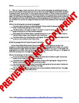 7th Grade CCSS Summary Assessment