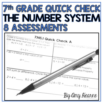 7th Grade Common Core Number System Quick Check Sheets & Standard Posters