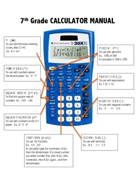7th Grade Calculator Manual