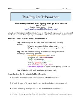 7th Grade Close Reading Article - Is the NSA Spying On You?