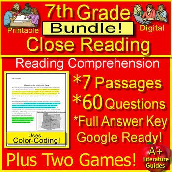 7th Grade Close Reading Literature AND Informational Bundle Google Drive Option