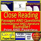 7th Grade Reading Comprehension Passages and Questions Bundle Close Reading
