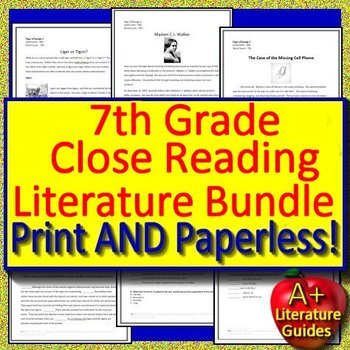 7th Grade Close Reading Literature Bundle Passages with Google Drive Option