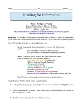 7th Grade Close Reading & Written Response Packet: Comparing Film Reviews