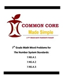 7th Grade Common Core 7.NS.A.1-3 Word Problems