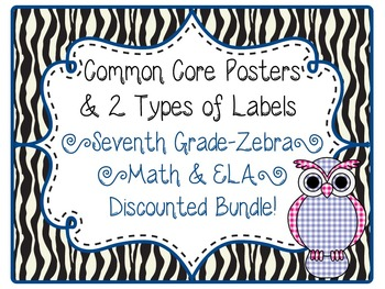 7th Grade Common Core CCSS Labels and Posters Math and ELA-Zebra