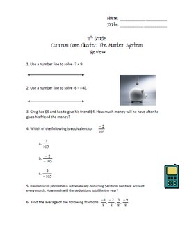 7th Grade Common Core Cluster: The Number System - Review