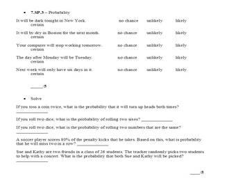 7th Grade Common Core Curriculum Math Assessment