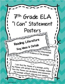 7th Grade Common Core ELA I Can Statement Posters English Language Arts