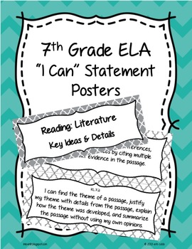 7th Grade Common Core ELA I Can Statement Posters English