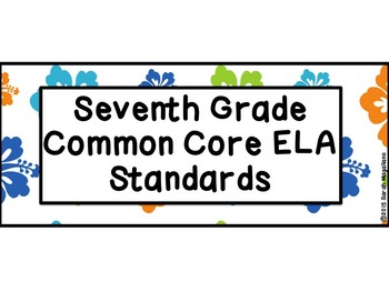 7th Grade Common Core ELA Standards Posters: Beach Theme