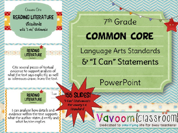 "7th Grade Common Core ELA Standards with ""I Can"" Statements"