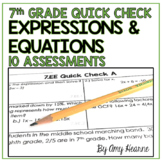 7th Grade Expressions and Equations Quick Check Assessment Sheets