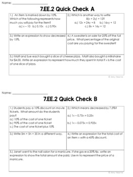 Expressions and Equations Quick Check Assessments (Bell Ringers and Exit Slips)